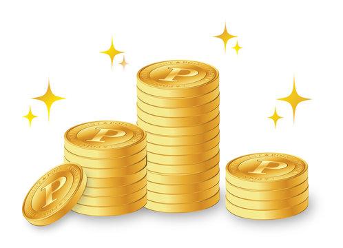積み重ねたコイン ポイントコイン