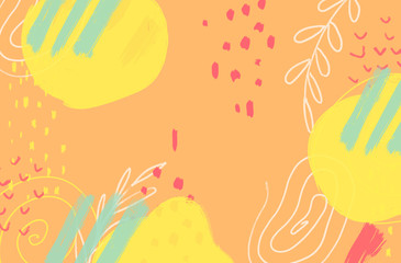 Abstract colorful  background with brush strokes and shapes. Modern hand drawn textures.