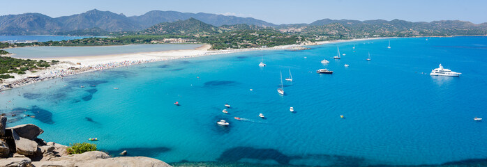 Türaufkleber Blau Jeans Villasimius Sardinia beach and landscape Porto Giunco