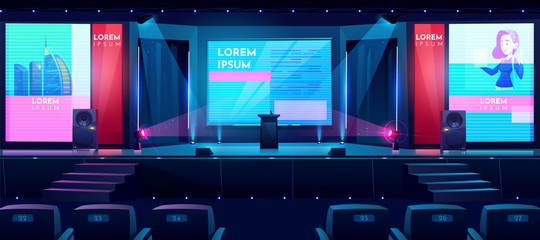 Hall for business conferences, investment projects presentations, shareholders event or meeting with slides on projection screens, sittings rows and tribune on stage cartoon vector illustration