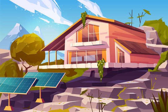 Ecological lifestyle, sustainable and autonomous living, clean environment cartoon vector concept. Two-storey cottage house on mountain hill, wild nature around and solar panels on yard illustration