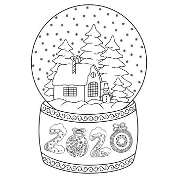 Toy glass snow globe with house. Lettering number 2020. Coloring book page for adults and children. Winter decorative pattern - snowflake, christmas trees, snowman, bow, ball.