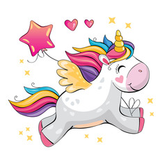 A cute funny unicorn is flying across the sky. Isolated illustration with cartoon and fabulous little pony, balloon, star and heart. Romantic story. Wonderland. Vector.