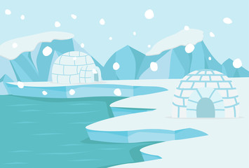 In de dag Lichtblauw North pole Arctic landscape vector