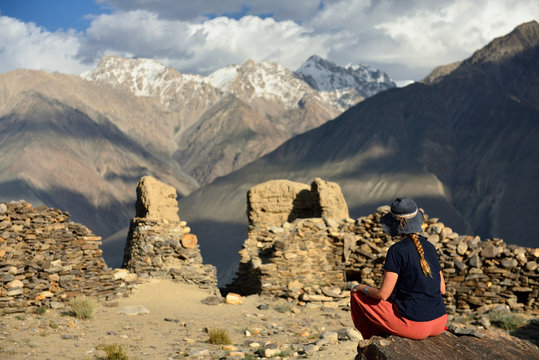 View on the Wakhan valley in the Pamir mountain inTajikistan.