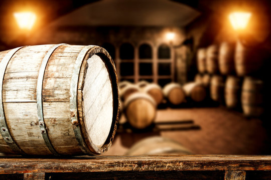 Wooden old barrel and free space for your decoration.