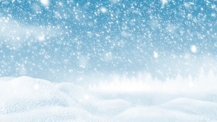 Snowdrift with snow falling in the winer Christmas background 3D illustration
