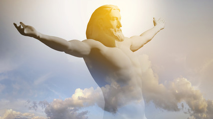Statue of Jesus Christ with outstretched hands against a cloudy sky. 3D rendering