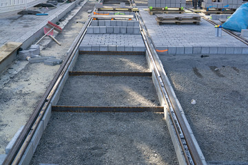 Construction of new rails for a tram