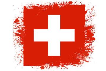Obraz Malowana flaga Szwajcarii - fototapety do salonu
