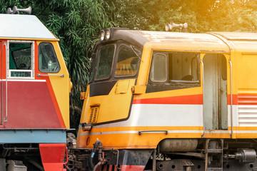 railway locomotive or train engine, rail transport vehicle provides motive power for train