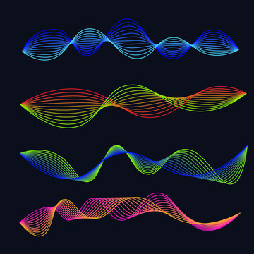 Line soundwaves gradient set. Audio waveform