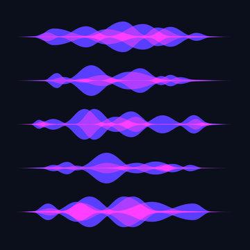 Transparent purple soundwaves abstract vector background. Voice recognition concept