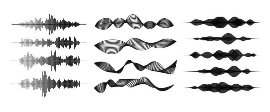 Sound / audio wave or soundwave line art for music apps and websites. Voice waveform vector illustration isolated on white background