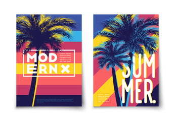 Palm trees with bright colored lined background