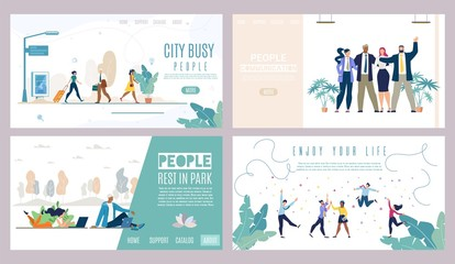 Successful People, City Life Vector Websites Set
