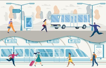 City Public Transport with Buses and Subway Vector