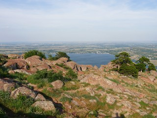View from the peak of Mt. Scott, Oklahoma, USA, with Lake Lawtonka in the distance.