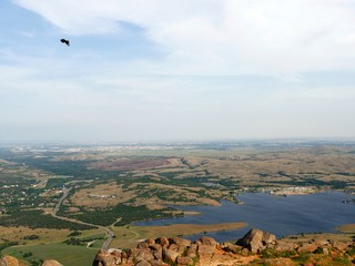 Wide view of Lake Lawtonka, seen from the peak of Mt Scott, Oklahoma, USA.