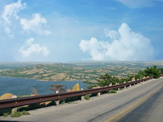 Scenic view from the road to the peak of Mt Scott in Oklahoma, with Lake Lawtonka below.