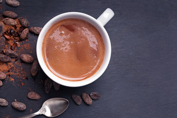 Hot chocolate or cocoa in a mug on the black background Wall mural
