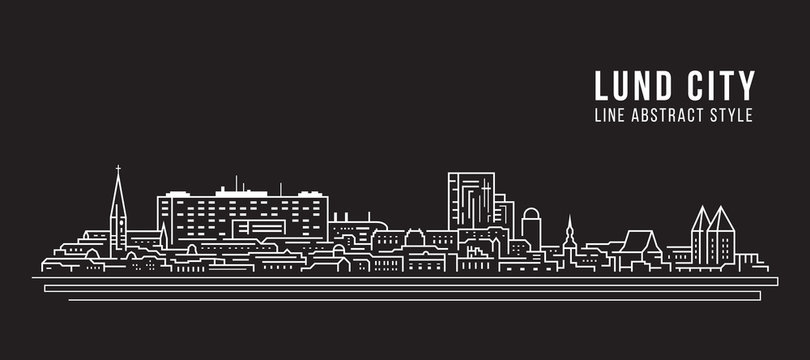Cityscape Building Line art Vector Illustration design - Lund city