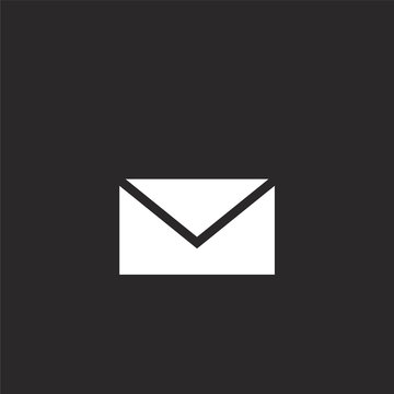 email icon. Filled email icon for website design and mobile, app development. email icon from filled dialogue assests collection isolated on black background.