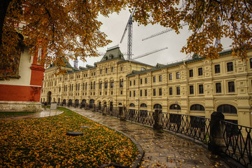 Old building with autumn garden