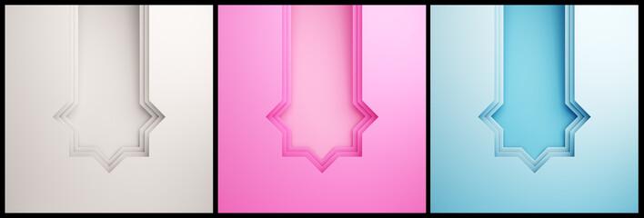 Collection set of various empty arabic paper cut window on pink, blue, gradient, white background. Concept of islamic celebration day ramadan or eid fitr adha, hajj, hijri, mawlid. 3D illustration.