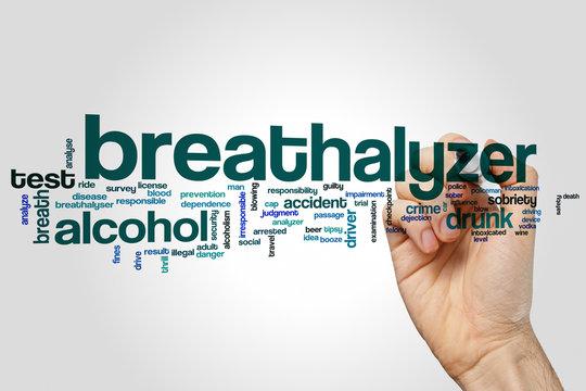 Breathalyzer word cloud concept on grey background