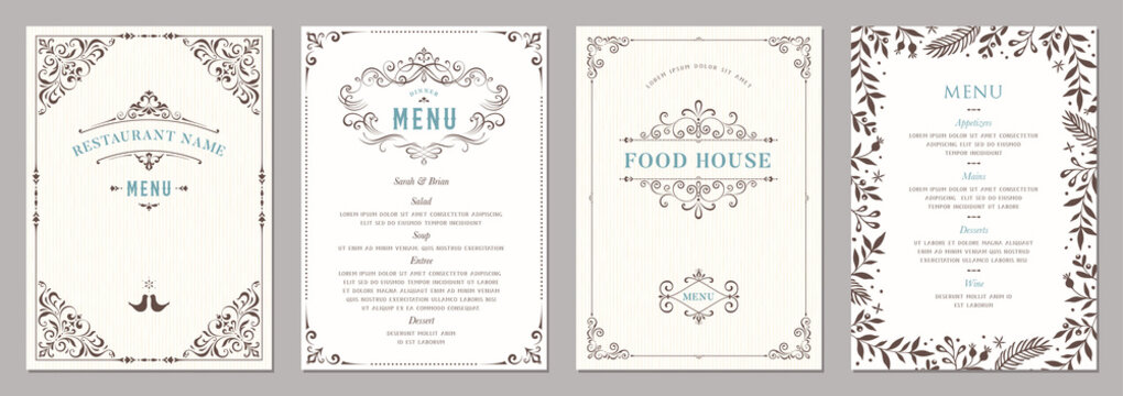 Wedding and restaurant menu.