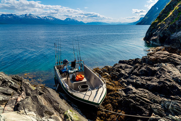 Fishing boat at sea. Norwegian Fjords. Powerboat
