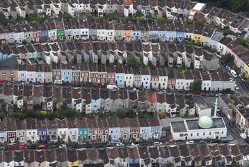 A mosque is seen amongst residential housing from the air during a mass take off at the annual Bristol hot air balloon festival in Bristol