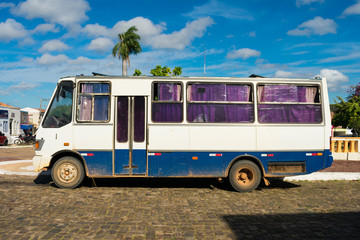Old style bus that transports people from rural areas in Oeiras - Piaui, Brazil