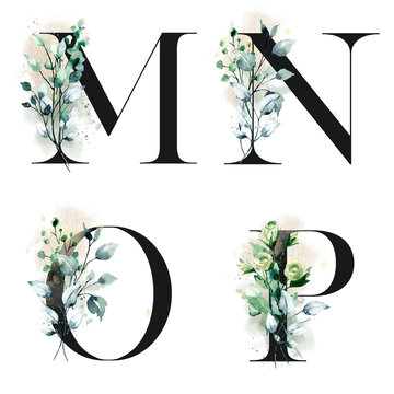 Floral alphabet, letters M, N, O, P with watercolor flowers and leaves. Monogram initials perfectly for wedding invitation, greeting card, logo and other design. Holiday design hand painting.