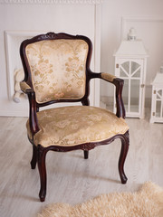 Beautiful vintage brown chair on white background.