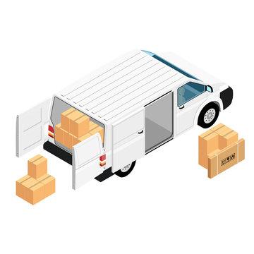 White minivan cargo delivery van deliver cardboard boxes