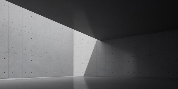 Abstract of concrete interior with sun light cast the shadow on the wall ,Geometric structure design,Museum space,Perspective of brutalism  architecture,3d rendering
