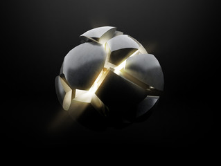 Mock up of exploding sphere on black background,Broken ball with light from the inside. 3D rendering.
