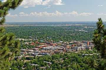 view over the city of Boulder in Colorado from Flagstaff Mountain