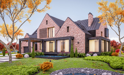 3d rendering of modern cozy clinker house on the ponds with garage and pool for sale or rent with beautiful landscaping on background. Soft autumn evening with golden leafs anywhere. Wall mural