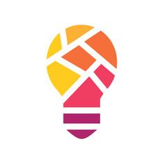colorful geometric light bulb icon- vector illustration