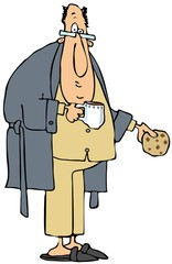 Chubby man in pajamas holding coffee and a cookie