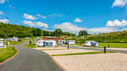 Photo sur Plexiglas Camping Red Kite Campsite, Llanidloes, Wales. A campsite for touring caravans, motorhome and campervans exploring mid-Wales, UK