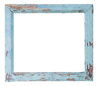 Old blue isolated wooden frame. Vintage wooden frame