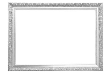 antique iron ancient frame isolated on white background. Old metal border