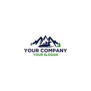 Common Loon in Mountain Logo Design Vector