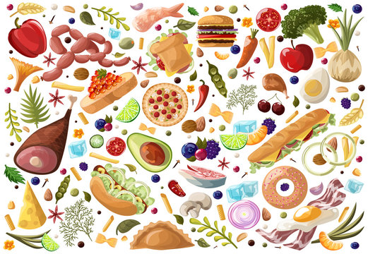 Big Set Food. Vegetables and Meat , fastfood, fish, fruits, sweets and dried fruit hand drawn of healthy food ingredient doodles in vector