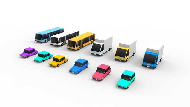 Cartoon cars isolated in white studio background