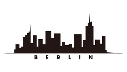Fotomurales - Berlin skyline and landmarks silhouette vector